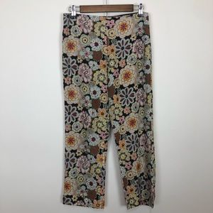Muse 4 silk embroidered beaded floral capri crops